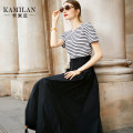 Dress Autumn of 2019 Blue and white stripes S M L XL Mid length dress singleton  Short sleeve street Crew neck middle-waisted stripe Socket A-line skirt routine Others 35-39 years old Type A Kamilan kamilan Splicing 51% (inclusive) - 70% (inclusive) nylon Europe and America