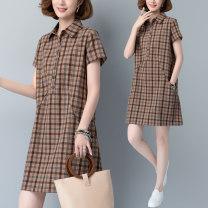Women's large Summer 2021 lattice M (90-110 kg), l (110-125 kg), XL (125-145 kg), 2XL (145-160 kg), 3XL (160-175 kg), 4XL (175-195 kg), 5XL (195-220 kg) Dress singleton  commute easy moderate Socket Short sleeve lattice Korean version Polo collar Cotton, hemp Collage routine LY01 30-34 years old