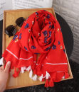 Scarf / silk scarf / Shawl other Red flowers Spring and autumn, summer and winter female Scarves / scarves multi-function Korean version rectangle Student youth middle age Plants and flowers printing 90cm 180cm