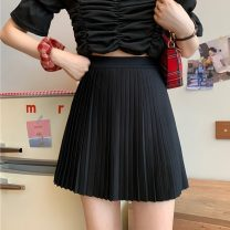 skirt Summer 2021 Average size White, black Short skirt Sweet High waist Pleated skirt Solid color Type A 18-24 years old 31% (inclusive) - 50% (inclusive) other fold