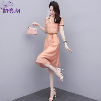 Dress Summer 2021 Orange powder M L XL XXL Mid length dress singleton  Short sleeve commute Polo collar High waist Solid color Socket A-line skirt routine Others 25-29 years old Hangyi Pavilion Korean version Three dimensional decorative zipper with pocket stitching 30% and below polyester fiber