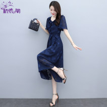 Dress Summer 2021 Navy Blue M L XL XXL longuette singleton  Short sleeve commute V-neck High waist Broken flowers Socket A-line skirt routine Others 25-29 years old Hangyi Pavilion lady Three dimensional decorative zipper with embroidered lace up HYG21216690 More than 95% Chiffon polyester fiber