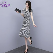 Dress Summer 2021 Black and white bar M L XL longuette singleton  Short sleeve commute V-neck High waist stripe Single breasted A-line skirt routine Others 25-29 years old Type H Hangyi Pavilion Korean version Three dimensional decorative button with lace up HYG2020118 More than 95% Chiffon