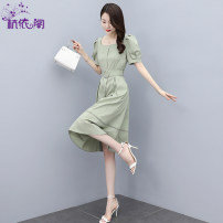Dress Summer 2021 Bean green M L XL XXL Mid length dress singleton  Short sleeve commute square neck High waist Solid color Single breasted A-line skirt puff sleeve Others 25-29 years old Hangyi Pavilion Korean version Three dimensional decorative button with pocket panel HYG2161719 cotton