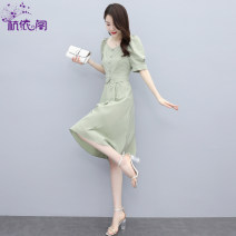 Dress Summer 2021 If the grass is green, Tibetan green and Begonia red M L XL XXL Mid length dress singleton  Short sleeve commute V-neck High waist Solid color Single breasted A-line skirt puff sleeve Others 25-29 years old Hangyi Pavilion Korean version HYG2161728 51% (inclusive) - 70% (inclusive)