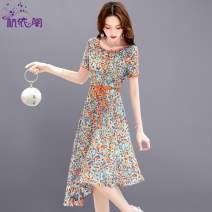Dress Summer 2021 Orange red M L XL XXL Mid length dress singleton  Short sleeve commute Crew neck High waist Broken flowers Socket A-line skirt routine Others 25-29 years old Hangyi Pavilion Korean version Three dimensional decorative printing with lace up HYG2109056 More than 95% Chiffon