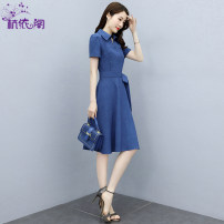 Dress Summer 2021 Denim blue camel purple M L XL XXL XXXL Mid length dress singleton  Short sleeve commute Polo collar High waist Solid color Socket A-line skirt routine Others 25-29 years old Hangyi Pavilion Korean version Three dimensional decorative button with lace up HYG212136 More than 95%