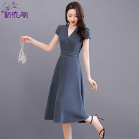Dress Summer 2021 Grey bean green purple M L XL XXL Mid length dress singleton  Short sleeve commute V-neck High waist Solid color Socket A-line skirt routine Others 25-29 years old Hangyi Pavilion Korean version Three dimensional decorative zipper with diamond lace HYG212019 More than 95% other