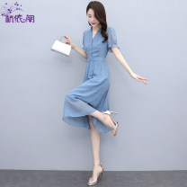 Dress Summer 2021 Blue green M L XL XXL longuette singleton  Short sleeve commute V-neck High waist Solid color Single breasted A-line skirt puff sleeve Others 25-29 years old Hangyi Pavilion Korean version Three dimensional decorative button zipper with pleated stitching HYG21216689 More than 95%
