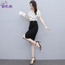 Dress Summer 2021 Black spots on a white background black spots on a bean green background M L XL Mid length dress singleton  Short sleeve commute square neck High waist Dot Socket One pace skirt routine Others 25-29 years old Hangyi Pavilion Korean version Three dimensional decorative button cotton