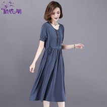 Dress Summer 2021 Gray blue gray black M L XL XXL XXXL Mid length dress singleton  Short sleeve commute Crew neck High waist Solid color Single breasted A-line skirt routine Others 25-29 years old Hangyi Pavilion Korean version Three dimensional decorative button with lace up pocket HYG210032116