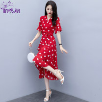 Dress Summer 2021 Red and white dots black and white dots M L XL XXL Mid length dress singleton  Short sleeve commute V-neck High waist Dot Socket A-line skirt pagoda sleeve Others 25-29 years old Hangyi Pavilion Korean version Lace up stitching HYG19011939 More than 95% Chiffon polyester fiber