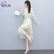 Dress Summer 2021 Pine and cypress green champagne gold S M L XL Mid length dress singleton  Short sleeve commute Crew neck High waist Broken flowers Socket A-line skirt pagoda sleeve Others 25-29 years old Hangyi Pavilion lady Three dimensional decorative Sequin printing with lace up HYG21669