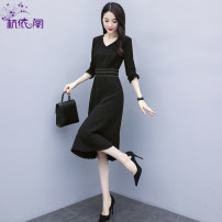 Dress Spring 2021 black 160/M 165/L 170/XL 175/XXL Mid length dress singleton  Long sleeves commute V-neck High waist Solid color Socket A-line skirt pagoda sleeve Others 25-29 years old Hangyi Pavilion Korean version Pleated zipper with drill and pleated stitching HYG199C02 More than 95% Chiffon