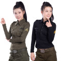 T-shirt Army and field travel 101-200 yuan M,L,XL,XXL Black, army green female Slim fit Long sleeves China Lapel Spring 2016