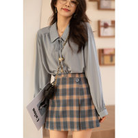 skirt Spring 2021 S M L Blue lattice Short skirt commute High waist A-line skirt Solid color 18-24 years old MX21A1583 More than 95% Wool Mystery show polyester fiber Button Polyester 98% polyurethane elastic fiber (spandex) 2%