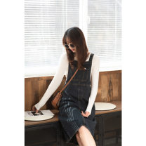Dress Spring 2021 navy blue S M L Short skirt singleton  Sleeveless commute Crew neck High waist Solid color Socket A-line skirt routine straps 18-24 years old Mystery show Korean version pocket More than 95% Denim cotton Cotton 100%