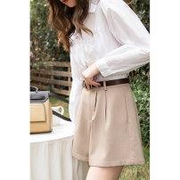 Casual pants Black Khaki S M L Summer 2021 shorts Wide leg pants Natural waist commute MXA21K0003 Mystery show Button Polyester fiber 59.5% viscose fiber (viscose fiber) 32.8% polyurethane elastic fiber (spandex) 7.7%