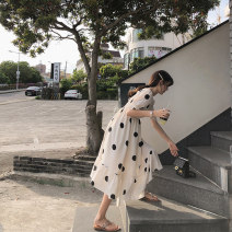 Dress Summer of 2019 Black dot black background white dot S M L Mid length dress singleton  Short sleeve commute square neck High waist Dot Socket Ruffle Skirt puff sleeve Others 18-24 years old Type A Mystery show Korean version Auricularia auricula with ruffle MX19B1384 More than 95% Polyester 100%