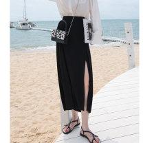 skirt Summer 2021 S M L Grey black longuette commute High waist A-line skirt Solid color 18-24 years old MXA22B0016 91% (inclusive) - 95% (inclusive) knitting Mystery show Viscose zipper Korean version Viscose fiber (viscose fiber) 92.7% polyurethane elastic fiber (spandex) 7.3%