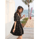 Dress Summer 2021 Caviar (black) S M L Mid length dress singleton  Short sleeve commute square neck High waist Solid color Socket A-line skirt routine 18-24 years old Mystery show Korean version printing MXA23L0095 More than 95% cotton Cotton 100%