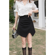 skirt Summer 2021 S M L Grey black white Short skirt commute High waist A-line skirt Solid color 18-24 years old MXA22B0005 91% (inclusive) - 95% (inclusive) Mystery show polyester fiber zipper Korean version Polyester 92.8% polyurethane elastic fiber (spandex) 7.2%