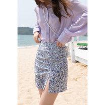 skirt Summer 2021 S M L Platycodon grandiflorum Short skirt commute High waist A-line skirt Solid color 25-29 years old MXA22B0007 More than 95% Mystery show polyester fiber zipper Korean version Polyester 100%