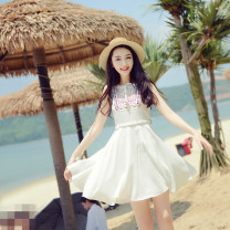 Dress Summer 2016 white S M L Mid length dress singleton  Sleeveless commute Crew neck High waist Socket A-line skirt 25-29 years old Type A Mystery show ethnic style Embroidery More than 95% polyester fiber Polyester 100%