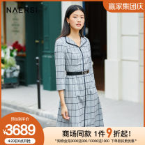 Dress Spring 2021 Light grey 38/M 40/L 42/XL 44/XXL 46/XXXL Middle-skirt three quarter sleeve commute Doll Collar middle-waisted lattice zipper A-line skirt routine 35-39 years old Type X Naersi / nals lady NF04825X2 51% (inclusive) - 70% (inclusive) polyester fiber