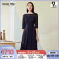 Dress Spring 2021 Dark Turquoise 38/M 40/L 42/XL 44/XXL 46/XXXL Mid length dress singleton  three quarter sleeve commute One word collar middle-waisted Solid color zipper Irregular skirt routine 35-39 years old Type X Naersi / nals lady NF03615Q7 More than 95% Lace nylon