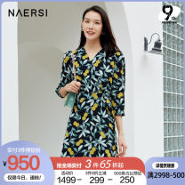 Dress Spring 2021 black 38/M 40/L 42/XL 44/XXL 46/XXXL Middle-skirt three quarter sleeve commute V-neck middle-waisted Broken flowers zipper A-line skirt routine Others 35-39 years old Type X Naersi / nals Retro NF04895W0 More than 95% polyester fiber Polyester 100%