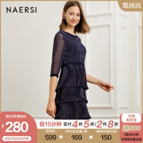 Dress Spring 2020 Dark Turquoise 38/M 40/L 42/XL 44/XXL 46/XXXL Mid length dress singleton  three quarter sleeve Crew neck High waist Dot other routine Others 35-39 years old Naersi / nals More than 95% polyester fiber Polyester 100% Same model in shopping mall (sold online and offline)