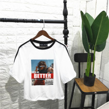 T-shirt Print on white background M,L,3L,4L Summer 2020 Crew neck Regular other 96% and above PINK   JULIE