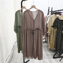 Dress Summer 2021 Junlv, milk coffee Average size Mid length dress singleton  elbow sleeve commute V-neck Solid color Socket 25-29 years old Frenulum Table 2 More than 95%