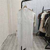 Dress Summer 2021 white Average size Mid length dress singleton  Sleeveless commute V-neck Solid color Socket 25-29 years old Cangyi-8-2 More than 95%