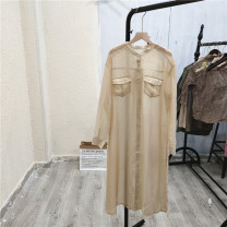 Dress Summer 2021 cream-colored Average size longuette singleton  Long sleeves commute Single breasted routine 25-29 years old Button Cangwu-8-3 More than 95%