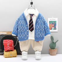 suit Other / other Red, blue, yellow 73cm,80cm,90cm,100cm,110cm male spring and autumn leisure time Long sleeve + pants 3 pieces routine No model Single breasted nothing Cartoon animation cotton children Learning reward Three piece x-triangle cardigan set Class A Cotton 95% other 5%