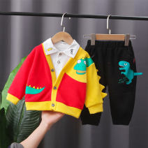 suit Other / other Blue, red 73cm,80cm,90cm,100cm,110cm,120cm male spring and autumn leisure time Long sleeve + pants 3 pieces routine No model Single breasted nothing Cartoon animation cotton children Learning reward Kkm-2115 color matching dinosaur three piece set Class A Cotton 95% other 5%