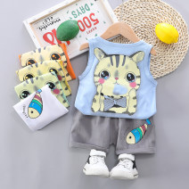 suit Other / other 73cm,80cm,90cm,100cm,110cm,120cm male summer leisure time Sleeveless + pants 2 pieces Thin money No model Socket nothing Cartoon animation cotton children Expression of love Class A Cotton 95% other 5% Chinese Mainland Zhejiang Province