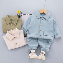 suit Other / other Off white, green, sky blue 80cm,90cm,100cm,110cm,120cm neutral spring and autumn leisure time Long sleeve + pants 2 pieces routine No model Single breasted nothing Solid color cotton children Learning reward 211216 tooling set Class A Cotton 95% other 5%