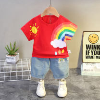 suit Other / other White, blue, red 73cm,80cm,90cm,100cm,110cm,120cm male summer leisure time Short sleeve + pants 2 pieces Thin money No model Socket nothing Cartoon animation cotton children Learning reward Class A Cotton 95% other 5% Chinese Mainland