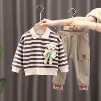 suit Other / other Camel, orange, green 73cm,80cm,90cm,100cm,110cm male spring and autumn leisure time Long sleeve + pants 2 pieces routine No model Socket nothing Cartoon animation cotton children Learning reward KL Lapel bear suit Class A Cotton 95% other 5%