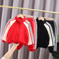 suit Other / other Red, black 90cm,100cm,110cm,120cm,130cm male spring and autumn leisure time Long sleeve + pants 2 pieces routine No model Zipper shirt nothing Solid color cotton children Learning reward J-zipper shoulder lace suit Class A Cotton 95% other 5% Chinese Mainland