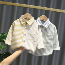 shirt Yellow, sky blue Other / other male 80cm,90cm,100cm,110cm,120cm spring and autumn Long sleeves leisure time stripe cotton Lapel and pointed collar Cotton 95% other 5% Color matching vertical stripe shirt Class A