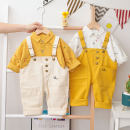 suit Other / other Yellow, off white 73cm,80cm,90cm,100cm,110cm neutral spring and autumn leisure time Long sleeve + pants 3 pieces routine No model Socket nothing Cartoon animation cotton children Learning reward Smiling face strap suit Class A Cotton 95% other 5%