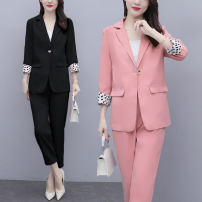 Women's large Spring 2021, autumn 2021 Pink, black L (recommended 100-115 kg), XL (recommended 115-130 kg), 2XL (recommended 130-150 kg), 3XL (recommended 150-165 kg), 4XL (recommended 165-180 kg), 5XL (recommended 180-200 kg) trousers Two piece set commute Self cultivation moderate Cardigan other