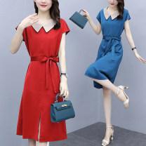 Women's large Summer 2020 Red, blue, yellow, black L (100-118 kg recommended), XL (120-133 kg recommended), 2XL (135-148 kg recommended), 3XL (150-163 kg recommended), 4XL (165-178 kg recommended), 5XL (180-200 kg recommended) Dress singleton  commute Self cultivation moderate Socket Short sleeve bow