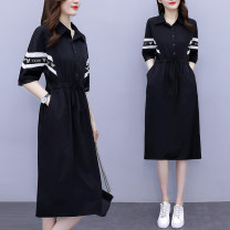 Dress Summer 2021 black L (recommended 100-115 kg), XL (recommended 115-130 kg), 2XL (recommended 130-145 kg), 3XL (recommended 145-160 kg), 4XL (recommended 160-180 kg), 5XL (recommended 180-200 kg) Mid length dress singleton  Short sleeve commute Polo collar Elastic waist other Socket Big swing