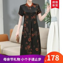 Middle aged and old women's wear Summer 2021 Black, red, number one, number two XL (recommended 100-120 kg), XXL (recommended 120-140 kg), 3XL (recommended 140-160 kg), 4XL (recommended 160-180 kg) noble Dress Straight cylinder singleton  Flower and bird pattern 40-49 years old Socket thin routine