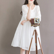 Dress Autumn 2020 White with sling S,M,L,XL,2XL Mid length dress Two piece set elbow sleeve Sweet Crew neck Loose waist Solid color Socket A-line skirt routine 18-24 years old Type A Pleating, folding, stitching 71% (inclusive) - 80% (inclusive) cotton Mori